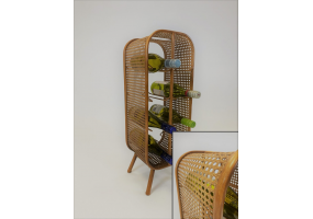 Rustic Metal Rattan Small 8 Bottle Wine Rack
