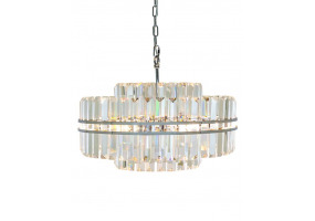 Large Chrome Prism Drop Round Chandelier