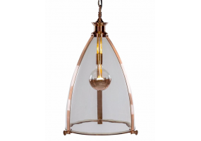 Copper and Glass Large Lantern Ceiling Light