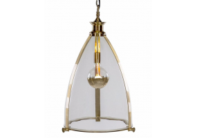 Brass and Glass Large Lantern Ceiling Light