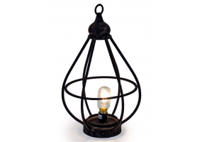 Antiqued Iron Large Cage LED Lantern (USB Rechargeable)