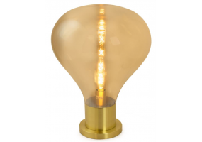 Large Gold Glass Edison Table Lamp on Brass Base (Large LED Filament Bulb Included)