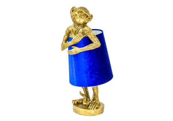 Antique Gold Bashful Monkey Table Lamp with Blue Velvet Shade