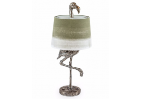Antique Silver Flamingo Table Lamp with Sage Fade Shade