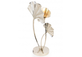 Large Nickel Plated Aluminium Ginkgo Leaf Table Lamp