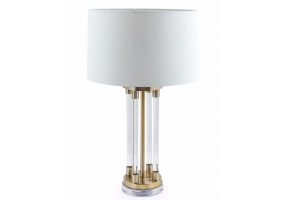 Brass and Glass Tubes Deco Table Lamp with White Shade