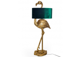 Antique Gold Flamingo Floor Lamp with Green Velvet Gold Lined Shade