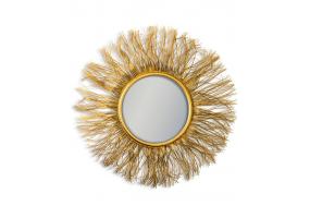Antique Gold Wire Sunburst Wall Mirror