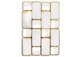 Gold Framed Antiqued Glass Panel Wall Mirror