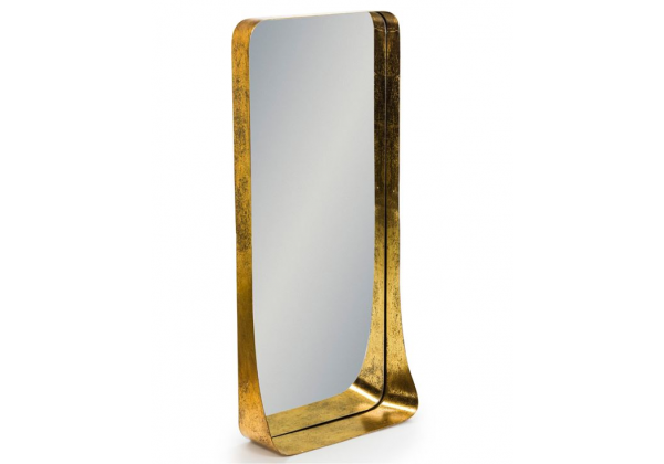 Antique Gold Portrait Metal Shelf Wall Mirror