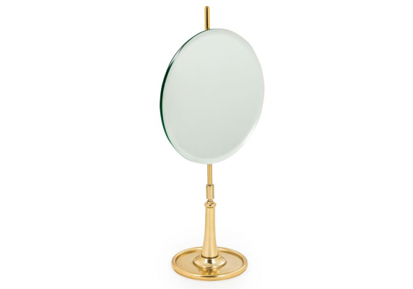 Round Table Mirror on Brass Stand