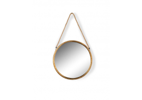 Small Round Gold Metal Mirror on Hanging Rope