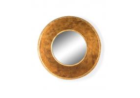 Deep Framed Gold Round Metal Wall Mirror