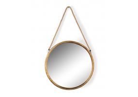 Large Round Gold Metal Mirror on Hanging Rope