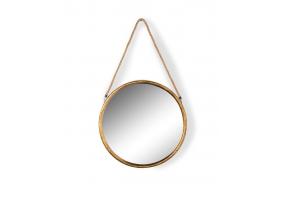 Medium Round Gold Metal Mirror on Hanging Rope