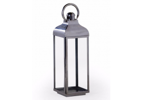 Large Square Polished Steel and Glass Lantern
