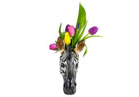 Ceramic Zebra Head Wall Sconce Vase