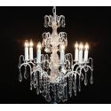 Large White French 8 Branch Chandelier