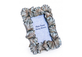 "Antique Silver 4x6"" Ginkgo Leaf Photo Frame"
