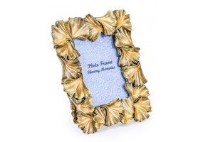 "Antique Gold 4x6"" Ginkgo Leaf Photo Frame"