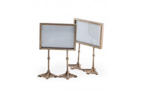 "Pair of Antique Silver 5x7"" Duck Feet Landscape Photo Frames"