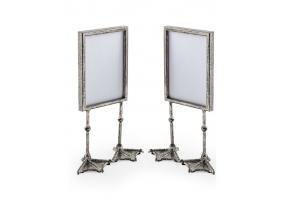 "Pair of Antique Silver 5x7"" Duck Feet Portrait Photo Frames"