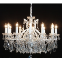 Luxurious 12 Branch Shallow Chandelier - White