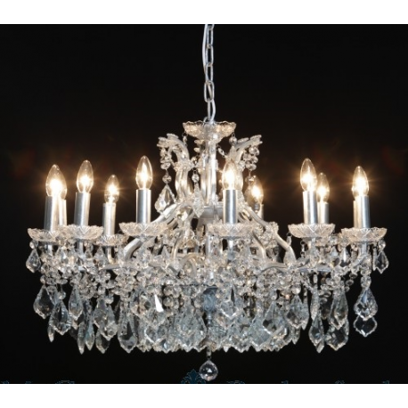 12 Branch Shallow Chandelier - Silver