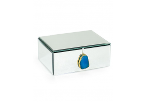 Large Mirrored Jewellery Box with Blue Agate Handle