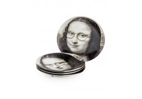 "Set of 4 Black and White Mona Lisa Face 7"" Ceramic Plates - Glasses"