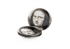 "Set of 4 Black and White Mona Lisa Face 7"" Ceramic Plates - Glasses"