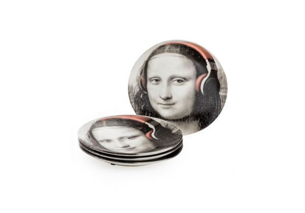 "Set of 4 Black and White Mona Lisa Face 7"" Ceramic Plates - Headphones"