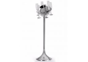 Polished Aluminium Floor Standing Saturn Ice Bucket/ Champagne Cooler with Glasses