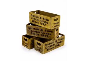"Set of 4 Antiqued ""Cromer Crabs"" Wooden Boxes"