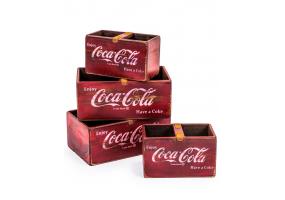 Set of 4 Antiqued Wooden Cola Storage Boxes