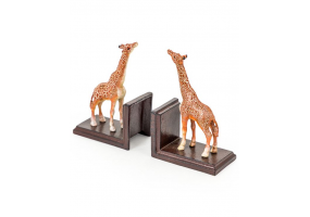 Cast Iron Antiqued Pair of Giraffe Bookends
