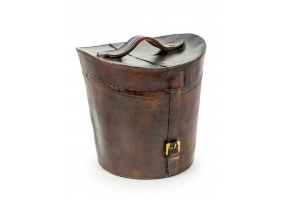 Antiqued Leather Effect Traditional Hat Box/ Ice Bucket