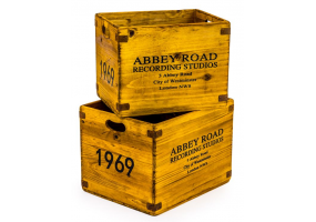 """Set of 2 Antiqued Wooden """"Abbey Road"""" LP Record Storage Boxes"""