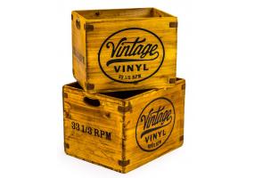 "Set of 2 Antiqued Wooden ""Vintage Vinyl"" LP Record Storage Boxes"