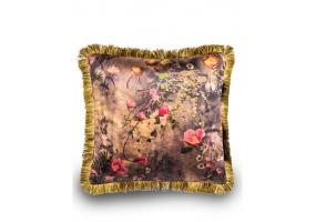 Boho Floral Velvet Cushion with Gold Fringe Detail