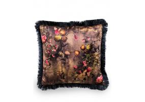 Boho Floral Velvet Cushion with Black Fringe Detail