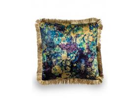 Boho Floral Velvet Cushion with Champagne Fringe Detail