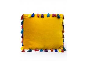 "Mustard Yellow Large Square Velvet ""Arco Iris"" Tassel Cushion"