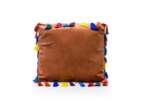 """Terracotta Large Square Velvet """"Arco Iris"""" Tassel Cushion"""