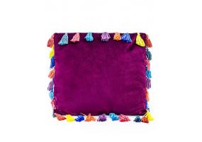 "Aubergine Purple Large Square Velvet ""Arco Iris"" Tassel Cushion"