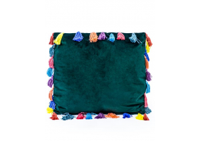 """Fern Green Large Square Velvet """"Arco Iris"""" Tassel Cushion"""