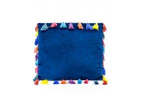 """Navy Blue Large Square Velvet """"Arco Iris"""" Tassel Cushion"""