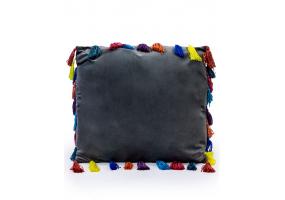 "Stone Grey Large Square Velvet ""Arco Iris"" Tassel Cushion"