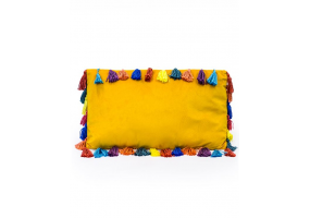 "Mustard Yellow Large Rectangular Velvet ""Arco Iris"" Tassel Cushion"
