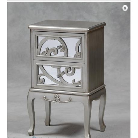Antique Silver Effect Rococo Bedside Cabinet - 2 drawers